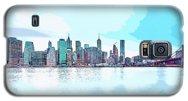 Skyline Of New York City, United States In Blues Galaxy S5 Case
