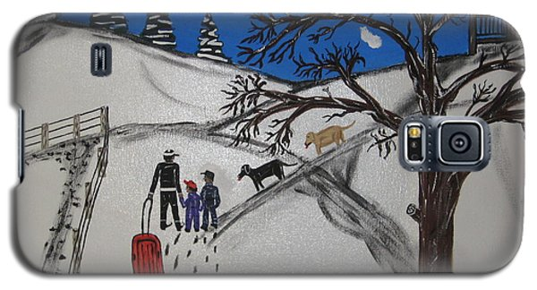 Galaxy S5 Case featuring the painting Sled Riding by Jeffrey Koss