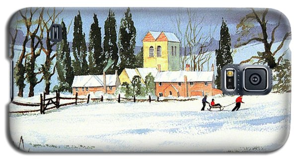 Galaxy S5 Case featuring the painting Sledding With Dad by Bill Holkham