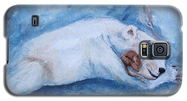 Galaxy S5 Case featuring the painting Sleeping Buddies Aceo Baby Polar Bear And Mouse by Brenda Thour