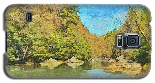 Galaxy S5 Case featuring the digital art Slippery Rock Creek by Digital Photographic Arts
