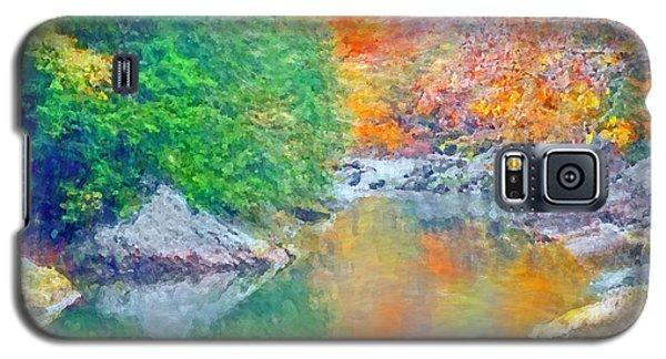 Galaxy S5 Case featuring the digital art Slippery Rock Creek In Autumn by Digital Photographic Arts
