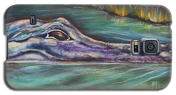 Galaxy S5 Case featuring the painting Sly Gator by Patricia Piffath