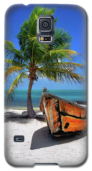 Small Boat And Palm Tree On White Sandy Beach In The Florida Keys Galaxy S5 Case