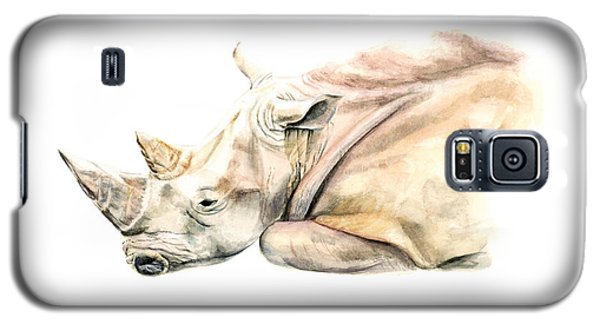 Galaxy S5 Case featuring the painting Small Colour Rhino by Elizabeth Lock