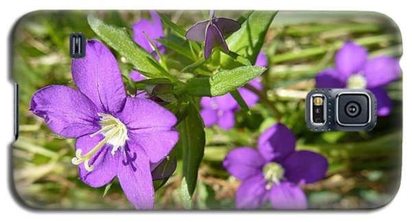 Galaxy S5 Case featuring the photograph Small Mauve Flowers by Jean Bernard Roussilhe