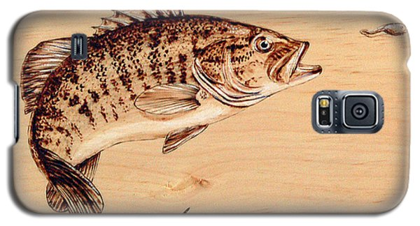 Galaxy S5 Case featuring the pyrography Small Mouth Bass by Ron Haist