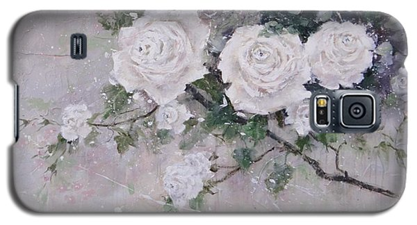 Galaxy S5 Case featuring the painting Smell The Roses  by Laura Lee Zanghetti