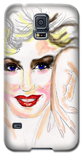 Galaxy S5 Case featuring the drawing Smile For Me Marilyn by Desline Vitto