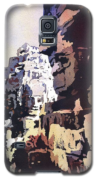 Galaxy S5 Case featuring the painting Smiling Faces- Bayon Temple, Cambodia by Ryan Fox