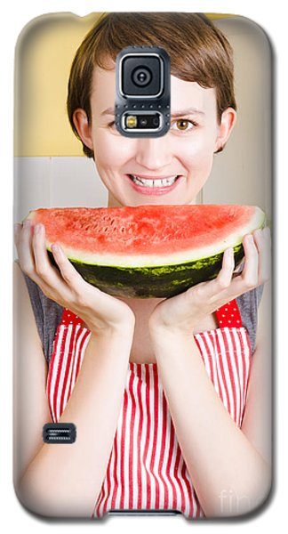 Watermelon Galaxy S5 Case - Smiling Young Woman Eating Fresh Fruit Watermelon by Jorgo Photography - Wall Art Gallery
