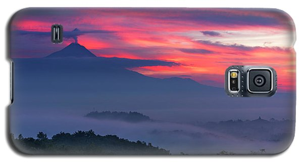 Smoking Volcano And Borobudur Temple Galaxy S5 Case