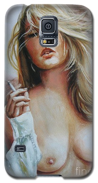 Galaxy S5 Case featuring the painting Smoking Woman by Elena Oleniuc