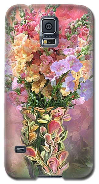 Galaxy S5 Case featuring the mixed media Snapdragons In Snapdragon Vase by Carol Cavalaris