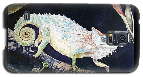 Galaxy S5 Case featuring the painting Sneaky Chameleon  by Irina Sztukowski