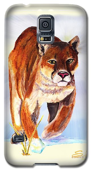 Galaxy S5 Case featuring the painting Snow Cougar by Sherril Porter