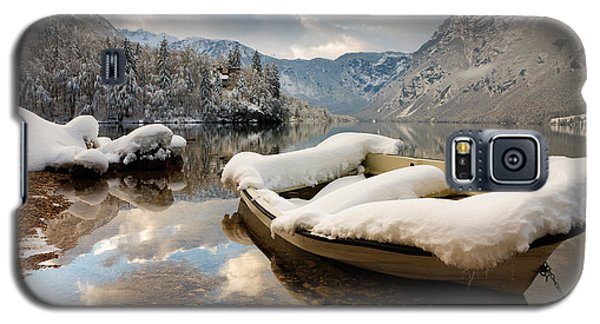 Snow Covered Boat On Lake Bohinj In Winter Galaxy S5 Case by Ian Middleton