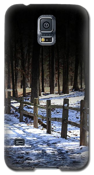 Galaxy S5 Case featuring the digital art Snow Covered Bridge by Kim Henderson