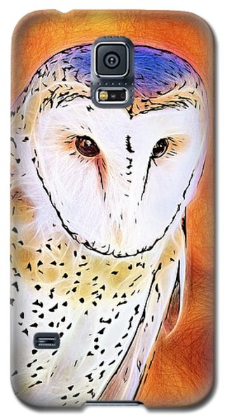 Galaxy S5 Case featuring the digital art White Face Barn Owl by Tracie Kaska