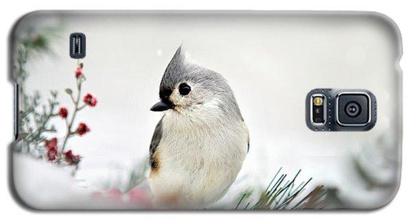 Snow White Tufted Titmouse Galaxy S5 Case