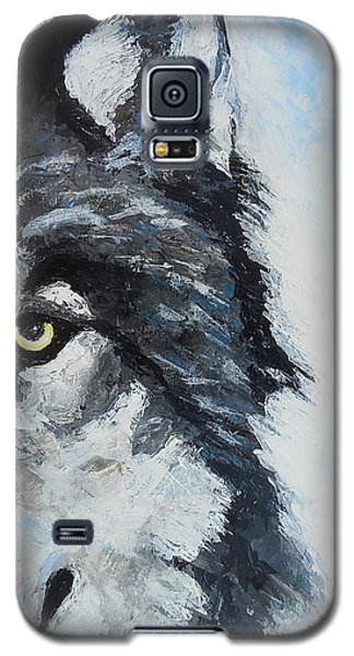 Galaxy S5 Case featuring the painting Snow Wolf by Edwin Alverio