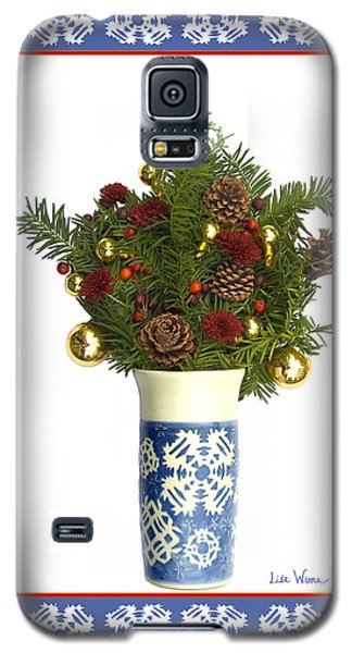 Galaxy S5 Case featuring the digital art Snowflake Vase With Christmas Regalia by Lise Winne