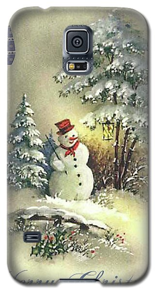 Galaxy S5 Case featuring the digital art Snowman Christmas Card by Greg Sharpe
