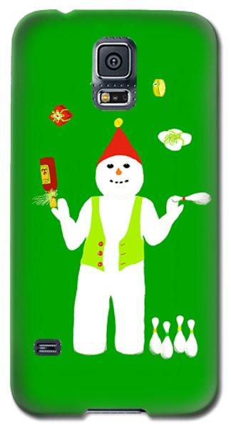 Galaxy S5 Case featuring the digital art Snowman Juggler by Barbara Moignard