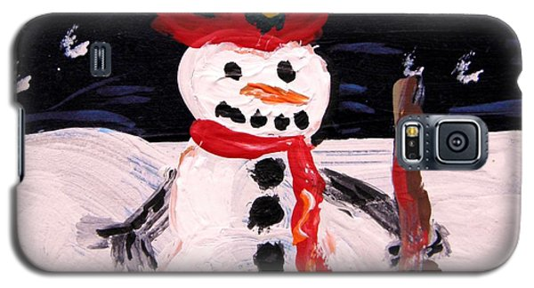 Galaxy S5 Case featuring the painting Snowman Under The Stars by Mary Carol Williams