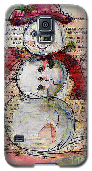 Snowman With Red Hat And Mistletoe Galaxy S5 Case