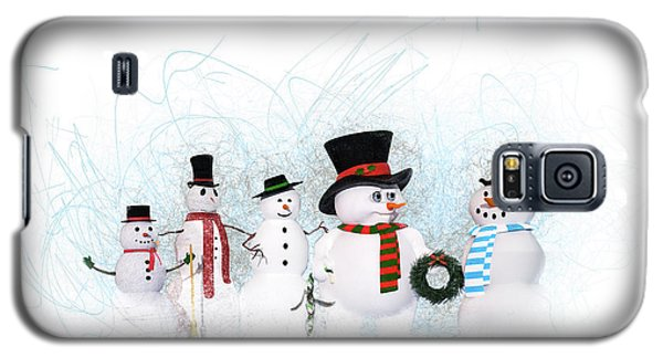 Galaxy S5 Case featuring the painting Snowmen by Methune Hively