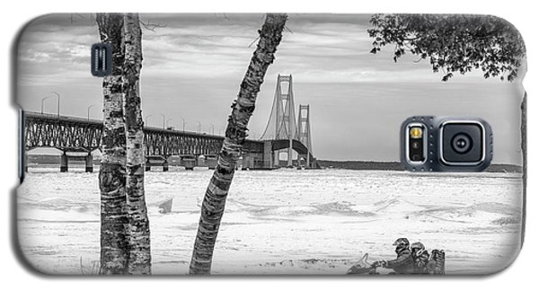 Galaxy S5 Case featuring the photograph Snowmobile Michigan Black And White  by John McGraw