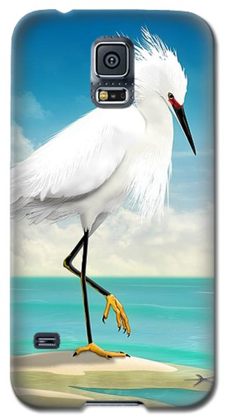 Snowy Egret On Beach  Galaxy S5 Case by John Wills