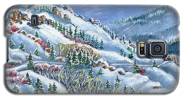 Galaxy S5 Case featuring the painting Snowy Mountain Road by Dawn Senior-Trask