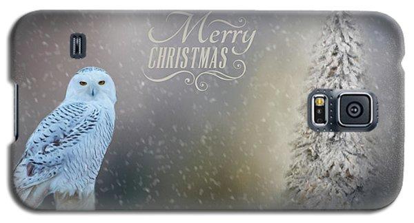 Snowy Owl Christmas Greeting Galaxy S5 Case