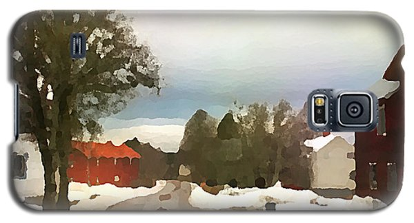 Snowy Street With Red House Galaxy S5 Case