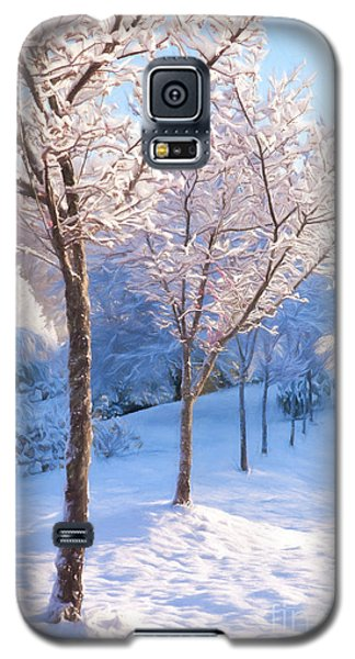 Galaxy S5 Case featuring the painting Snowy Stroll by Dan Carmichael