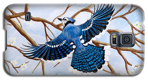 Galaxy S5 Case featuring the painting Soaring Blue Jay  by Teresa Wing
