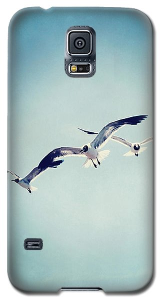 Galaxy S5 Case featuring the photograph Soaring Seagulls by Trish Mistric