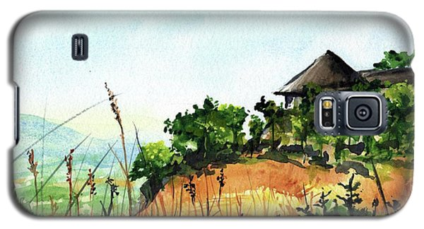 Galaxy S5 Case featuring the painting Solitary Cottage In Malawi by Dora Hathazi Mendes