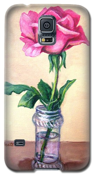 Galaxy S5 Case featuring the painting Solo Rose by Laura Aceto