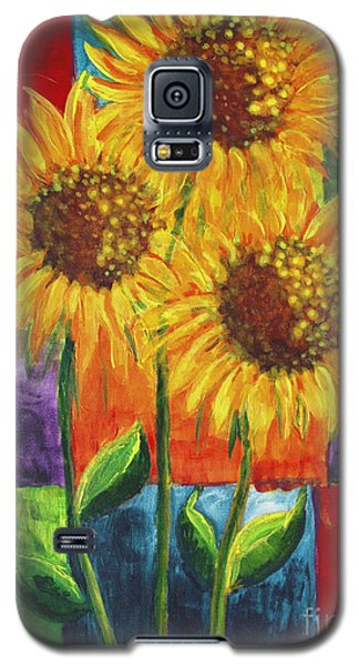 Galaxy S5 Case featuring the painting Sonflowers I by Holly Carmichael