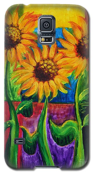 Galaxy S5 Case featuring the painting Sonflowers II by Holly Carmichael
