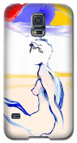 Galaxy S5 Case featuring the painting Sophi's Umbrella #2 - Female Nude by Carolyn Weltman