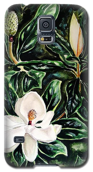 Galaxy S5 Case featuring the painting Southern Magnolia Bud And Bloom by Patricia L Davidson