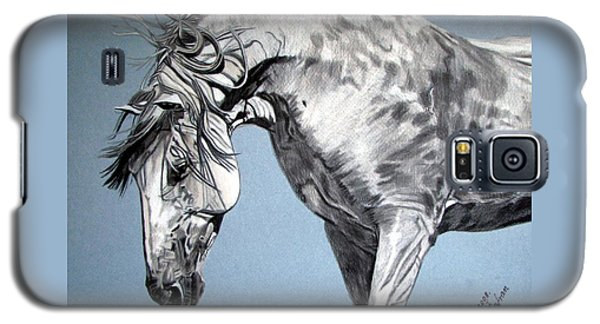 Galaxy S5 Case featuring the drawing Spanish Horse by Melita Safran
