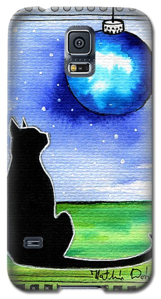 Sparkling Blue Bauble - Christmas Cat Galaxy S5 Case