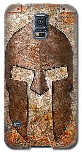 Spartan Helmet On Rusted Riveted Metal Sheet Galaxy S5 Case