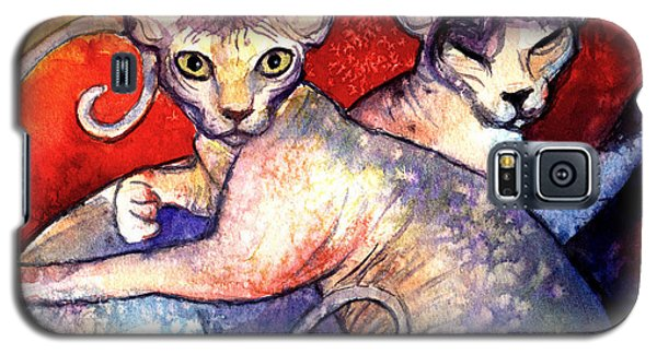 Sphynx Cats Sphinx Family Painting  Galaxy S5 Case
