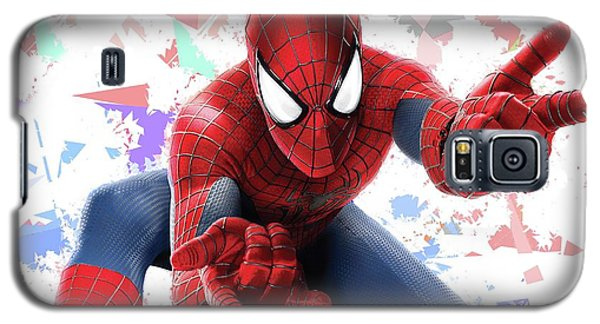 Galaxy S5 Case featuring the mixed media Spider Man Splash Super Hero Series by Movie Poster Prints